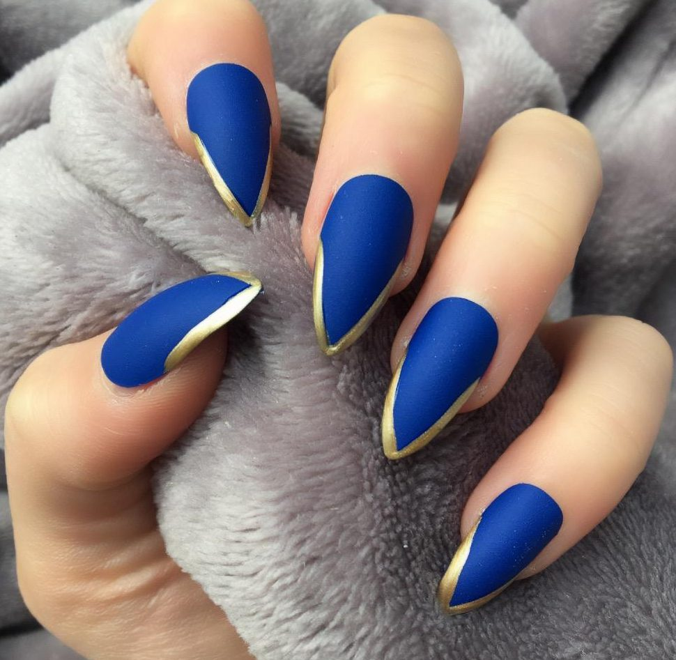 Light Mani Electric Blue Matte & Gold Stiletto – Doobys Nails