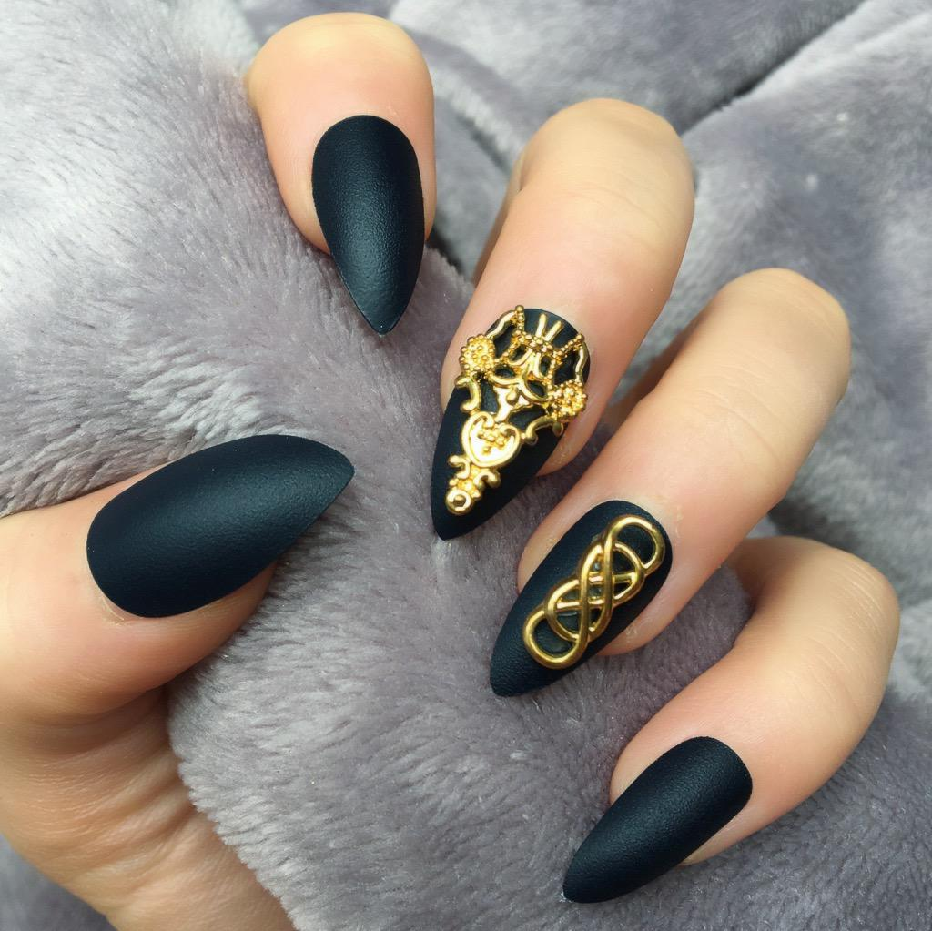 Charcoal Blue Matte Temple Stiletto Doobys Nails