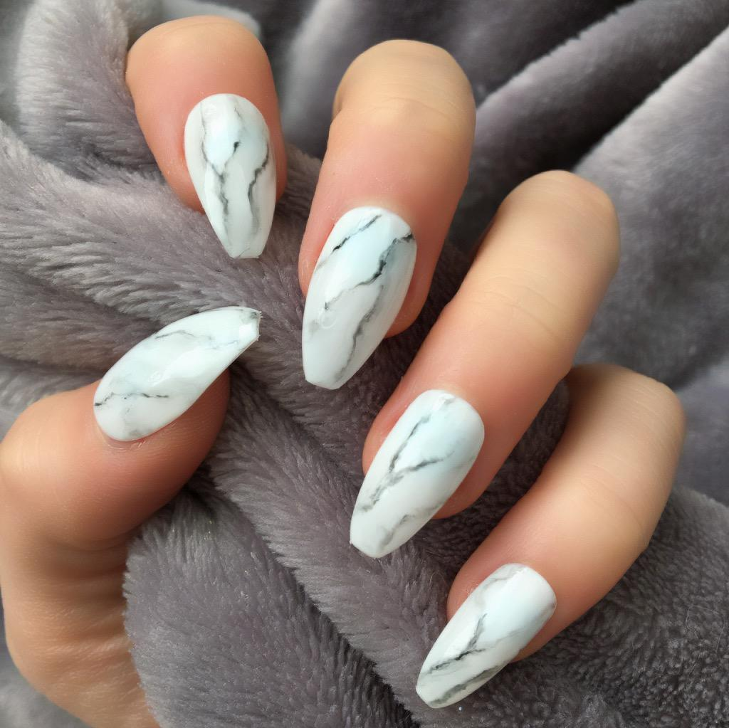 Marble Gloss Coffin – Doobys Nails