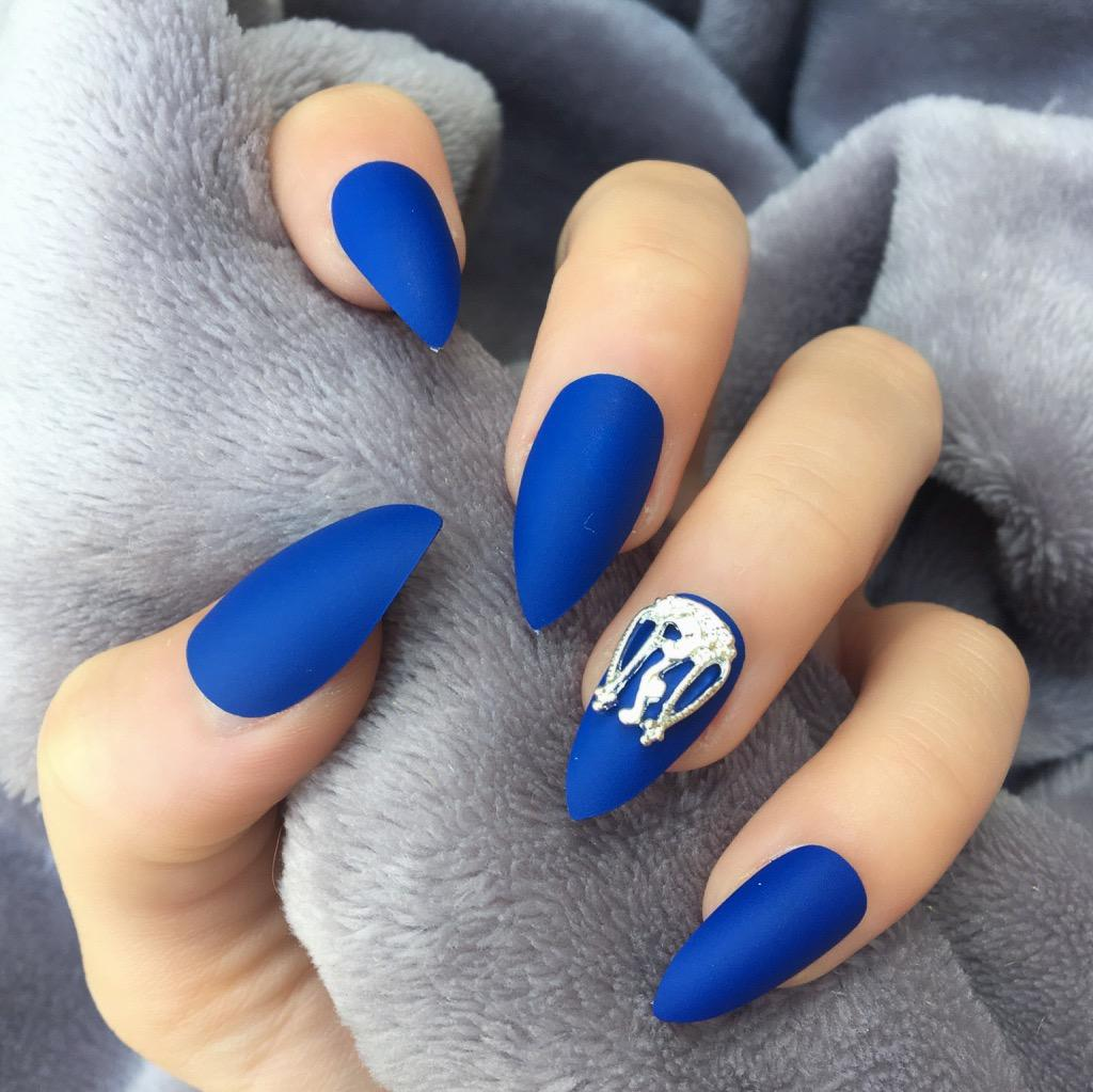 Electric Blue Matte RF Amy Stiletto – Doobys Nails