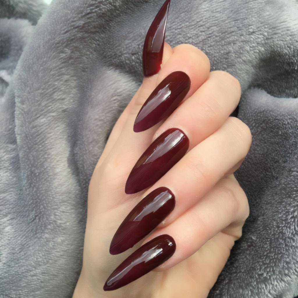 Heat Change Dark Red Gloss to Bright Long Stiletto – Doobys Nails