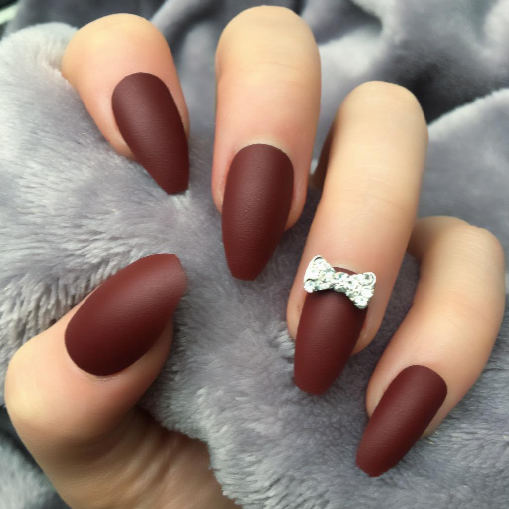 Burgundy Matte RF Silver Bow Coffin – Doobys Nails