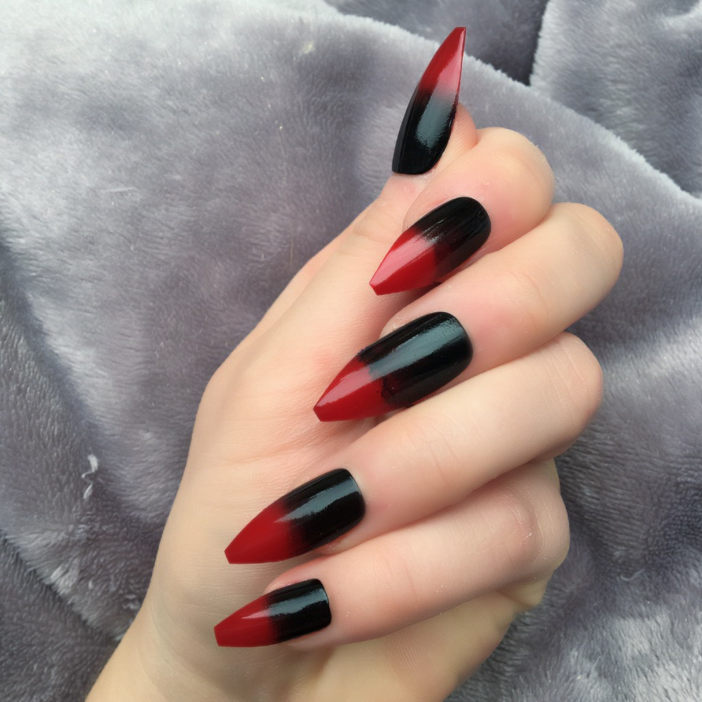 Red Black Ombre Long Coffin Doobys Nails