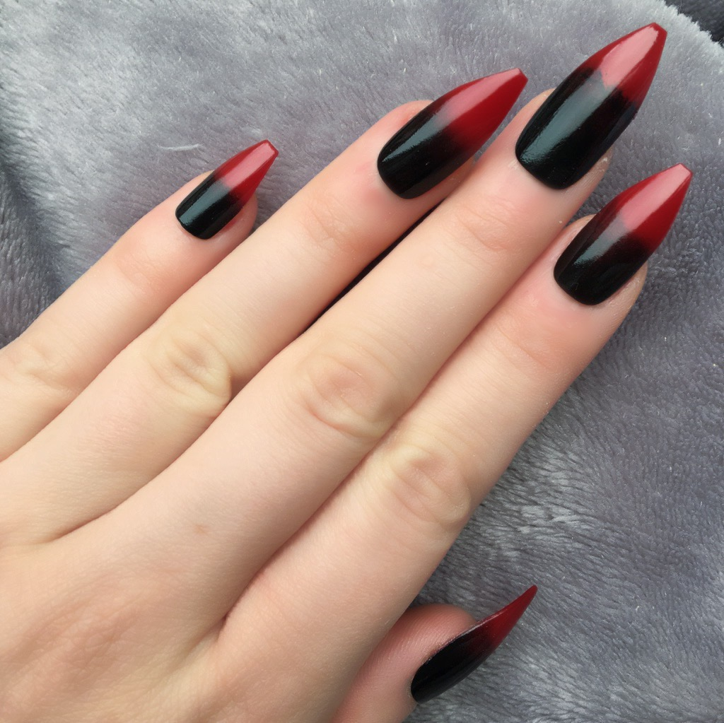 Red Black Ombre Long Coffin