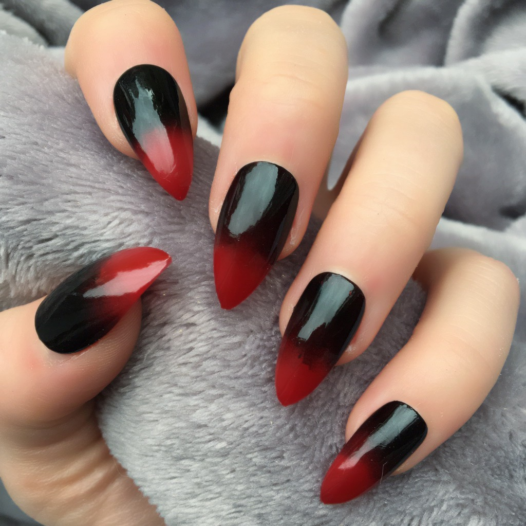 Red Black Ombre Stiletto