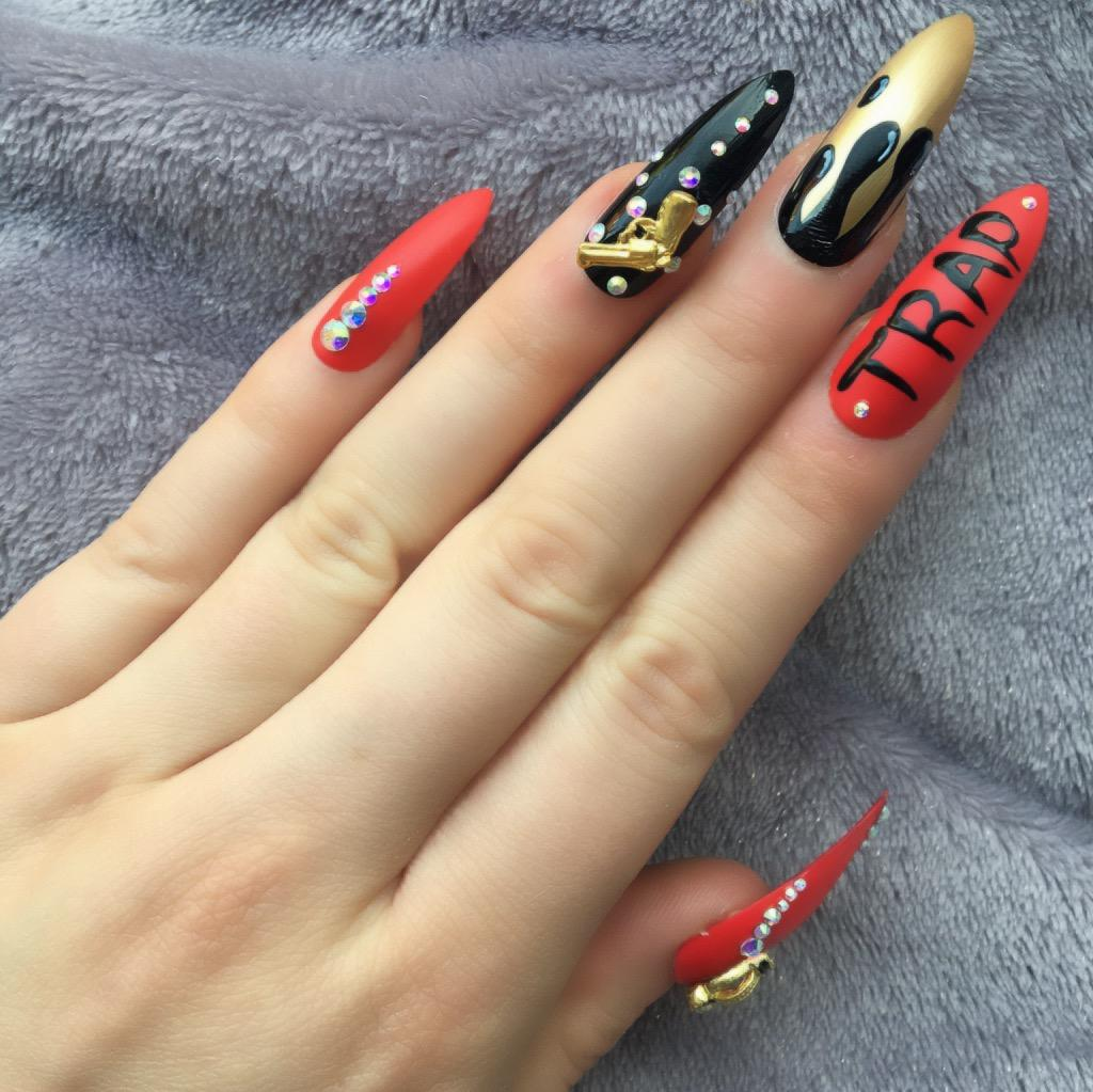 TRAP\' Hot Red Long Stiletto – Doobys Nails