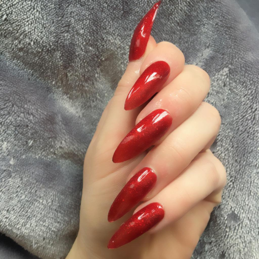 Heat Change Dark Red Glitter to Hot Red Long Stiletto – Doobys Nails