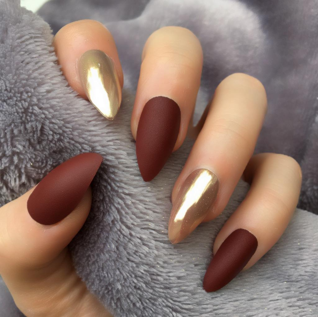 Burgundy Matte Rose Gold Stiletto