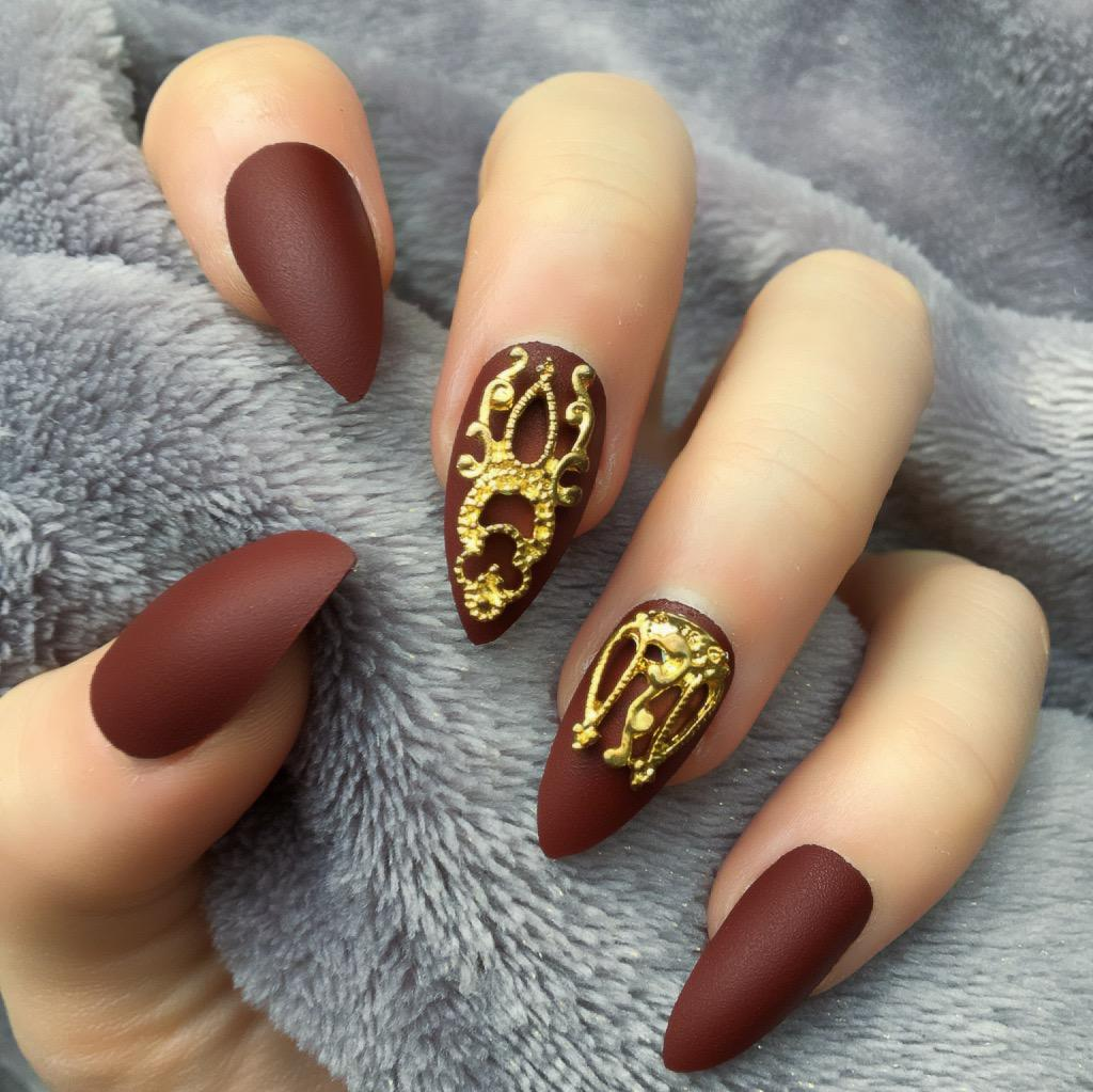 Burgundy Matte Gold Accent Stiletto – Doobys Nails