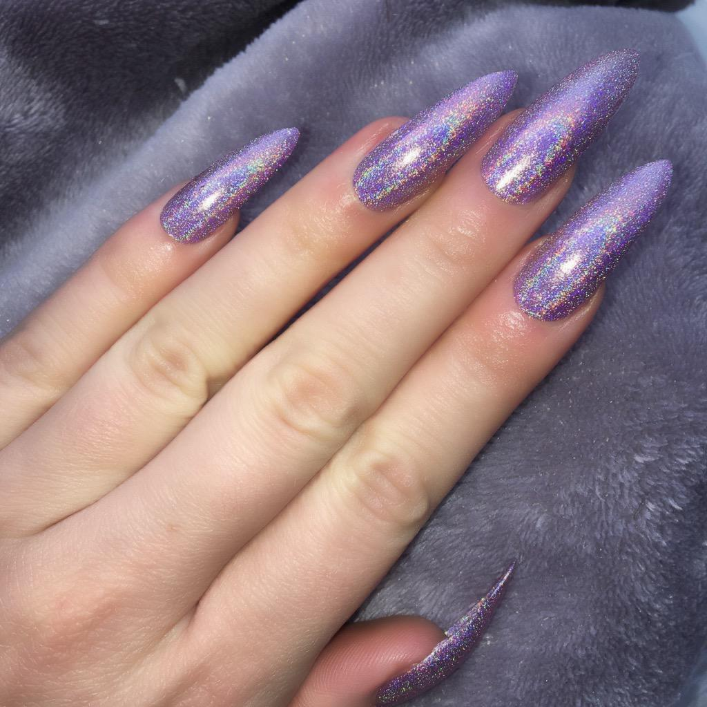 Holographic Fairy Dust Long Stiletto – Doobys Nails