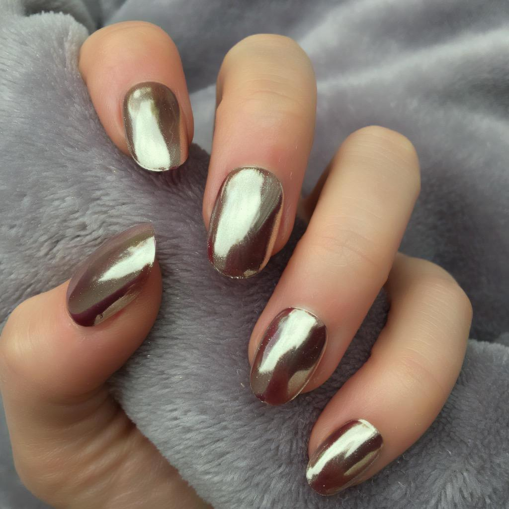 Rose Gold Mirror Short Oval Doobys Nails