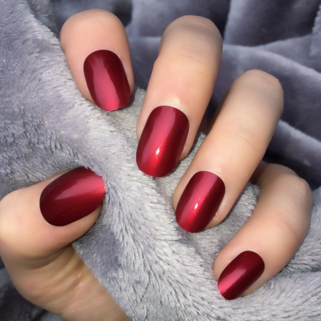 Metallic Red Short Oval – Doobys Nails