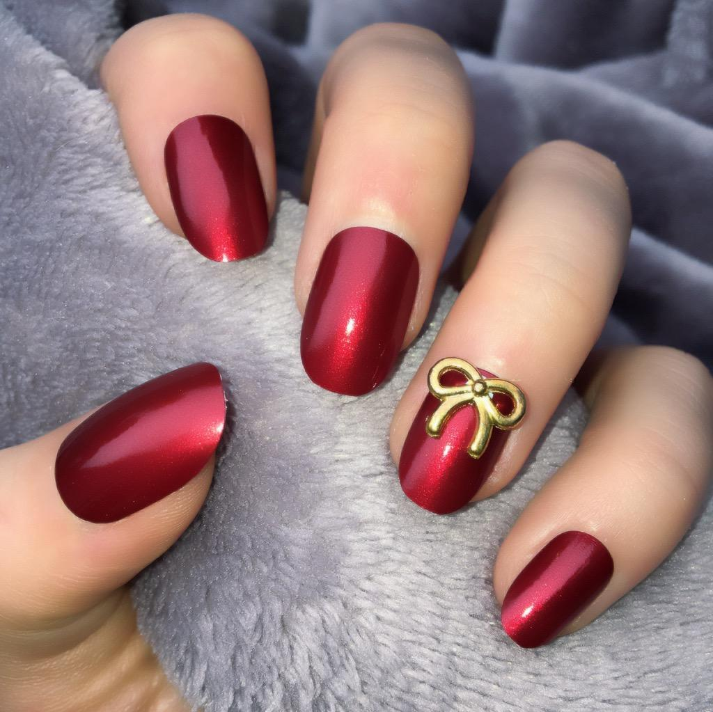 Metallic Red RF Gold Bow Short Oval – Doobys Nails