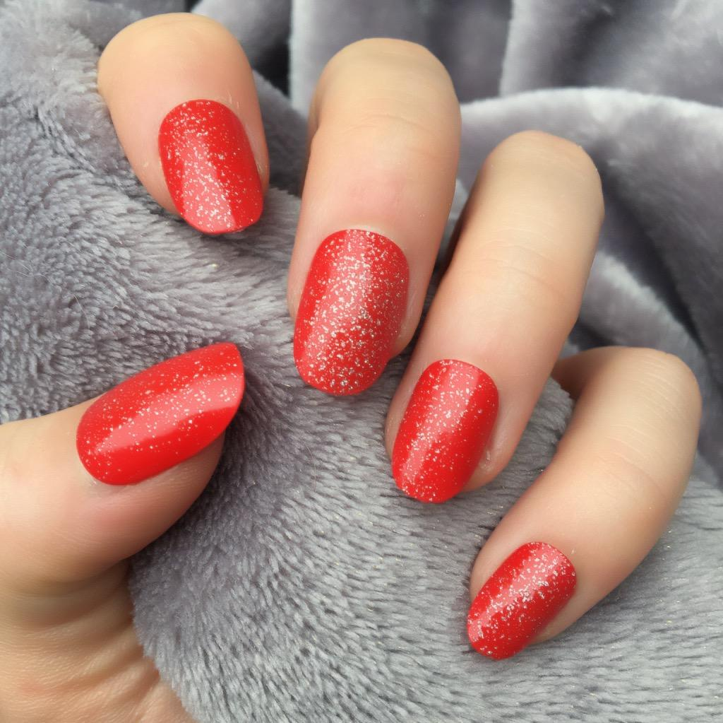 Hot Red Glitter Short Oval – Doobys Nails