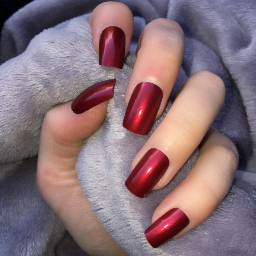 Metallic Red Short Square – Doobys Nails