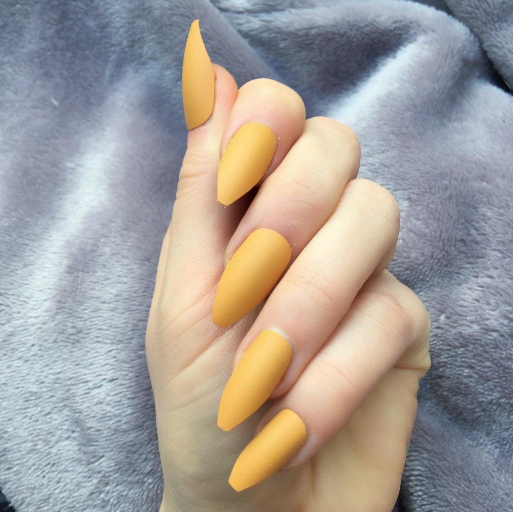 Mustard Matte Long Coffin – Doobys Nails