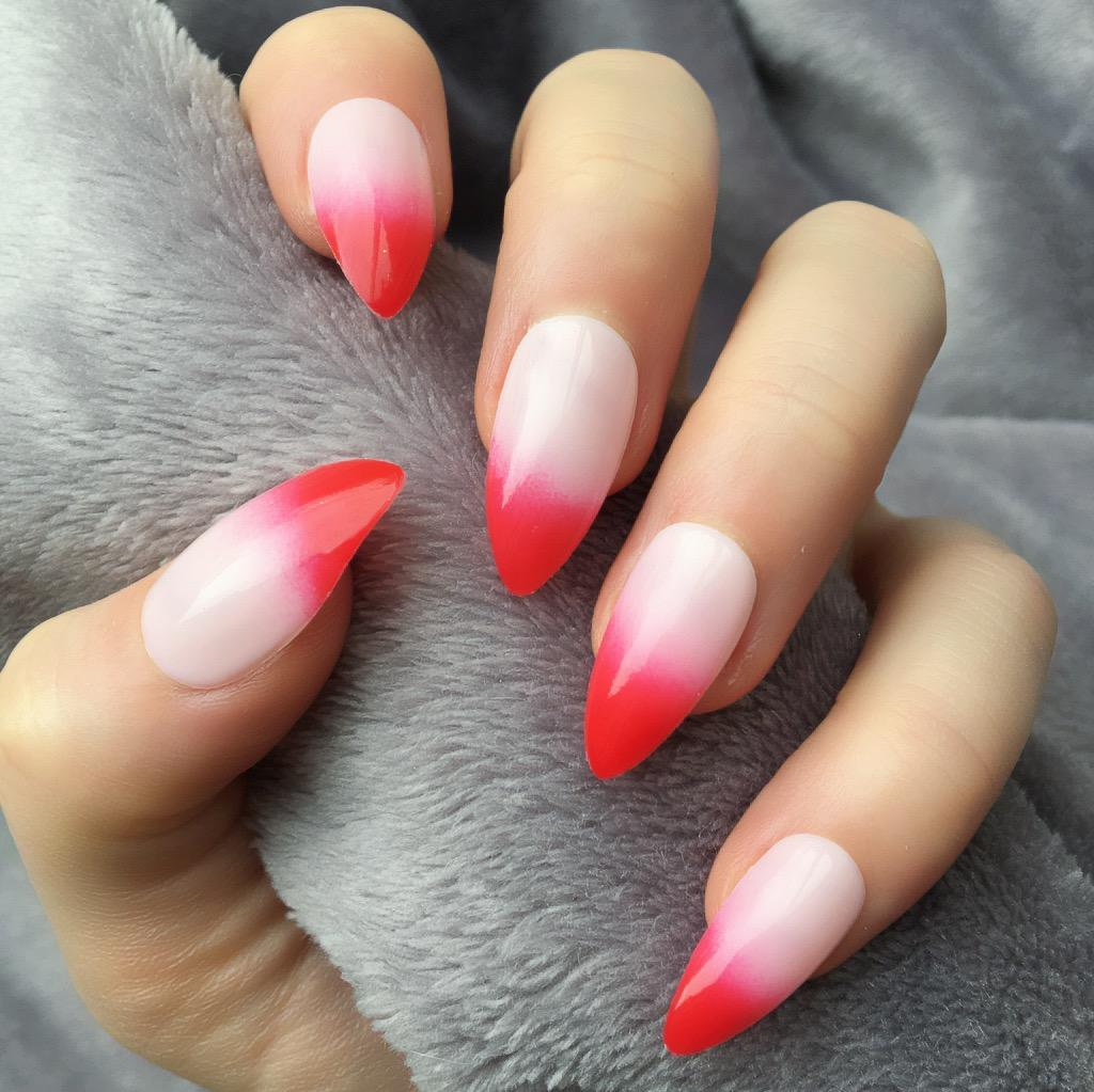 Red Ombre Stiletto Doobys Nails