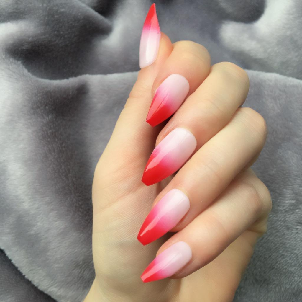 Red Ombre Long Coffin Doobys Nails