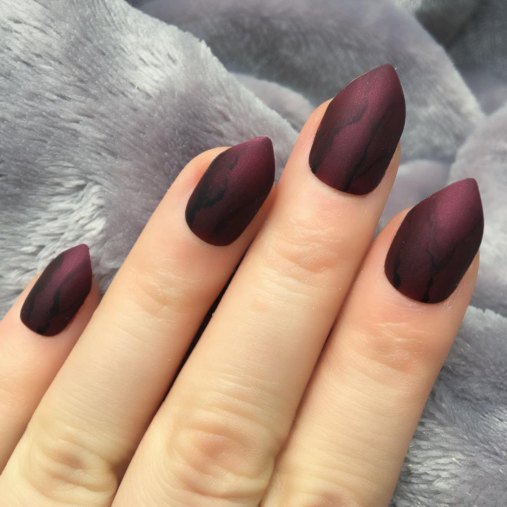 Deep Red Marble Matte Short Stiletto Doobys Nails