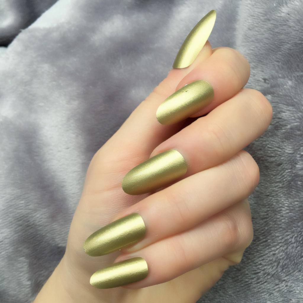 Metallic Gold Long Oval – Doobys Nails