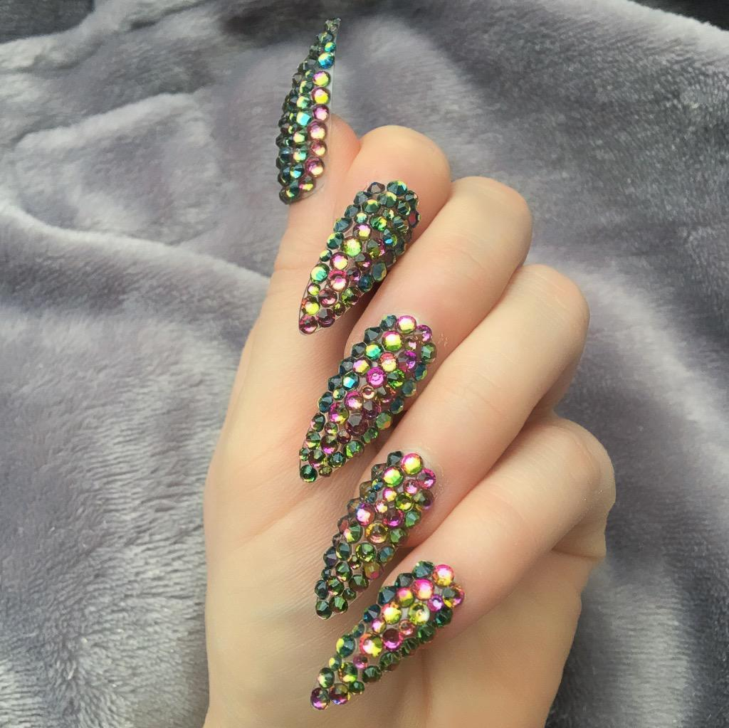 Full Cover Dragon Long Stiletto – Doobys Nails