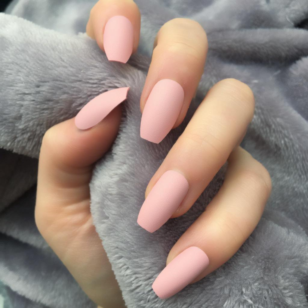 baby pink matte squaletto � doobys nails