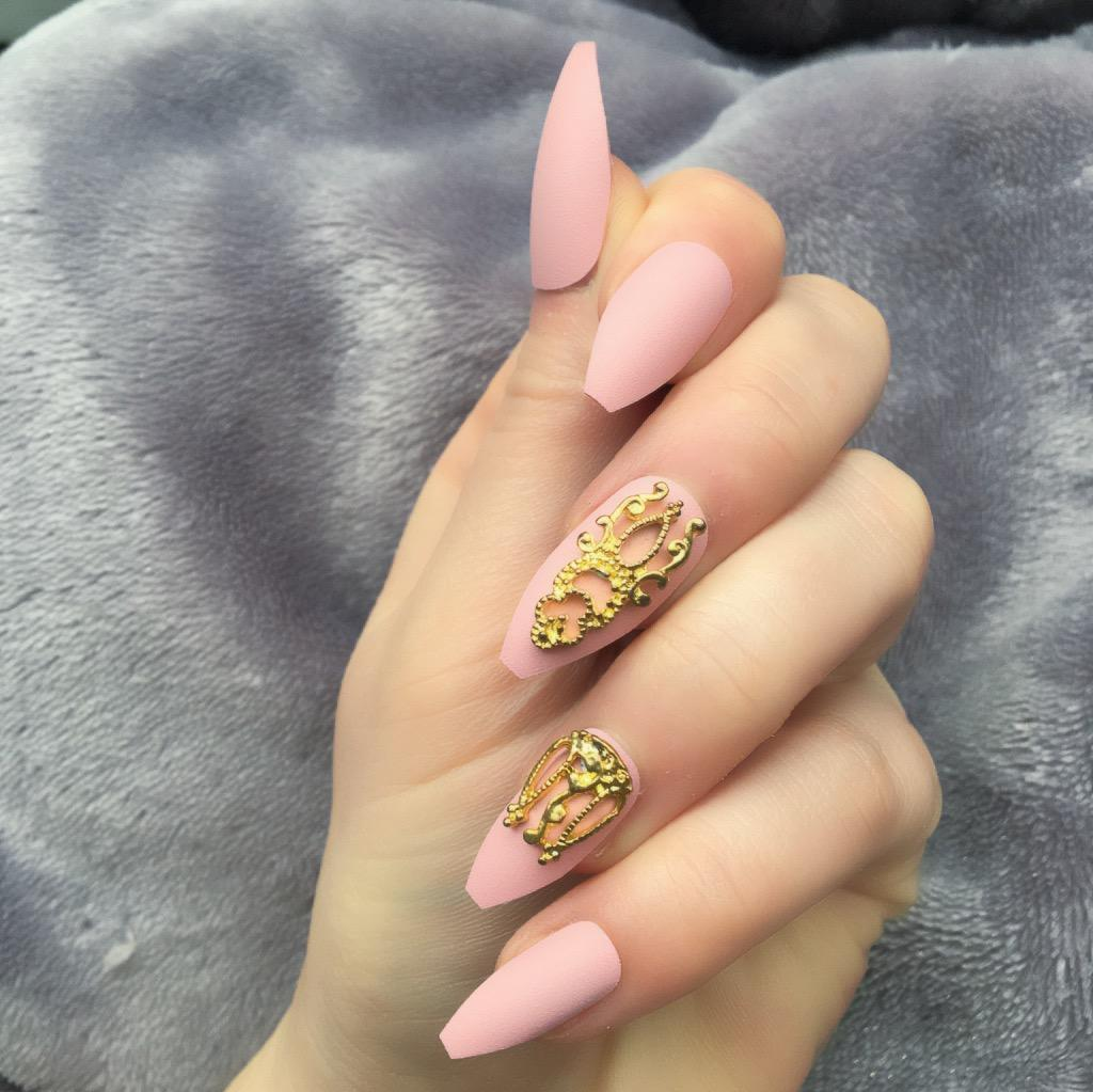 Baby Pink Matte Gold Accent Long Coffin – Doobys Nails