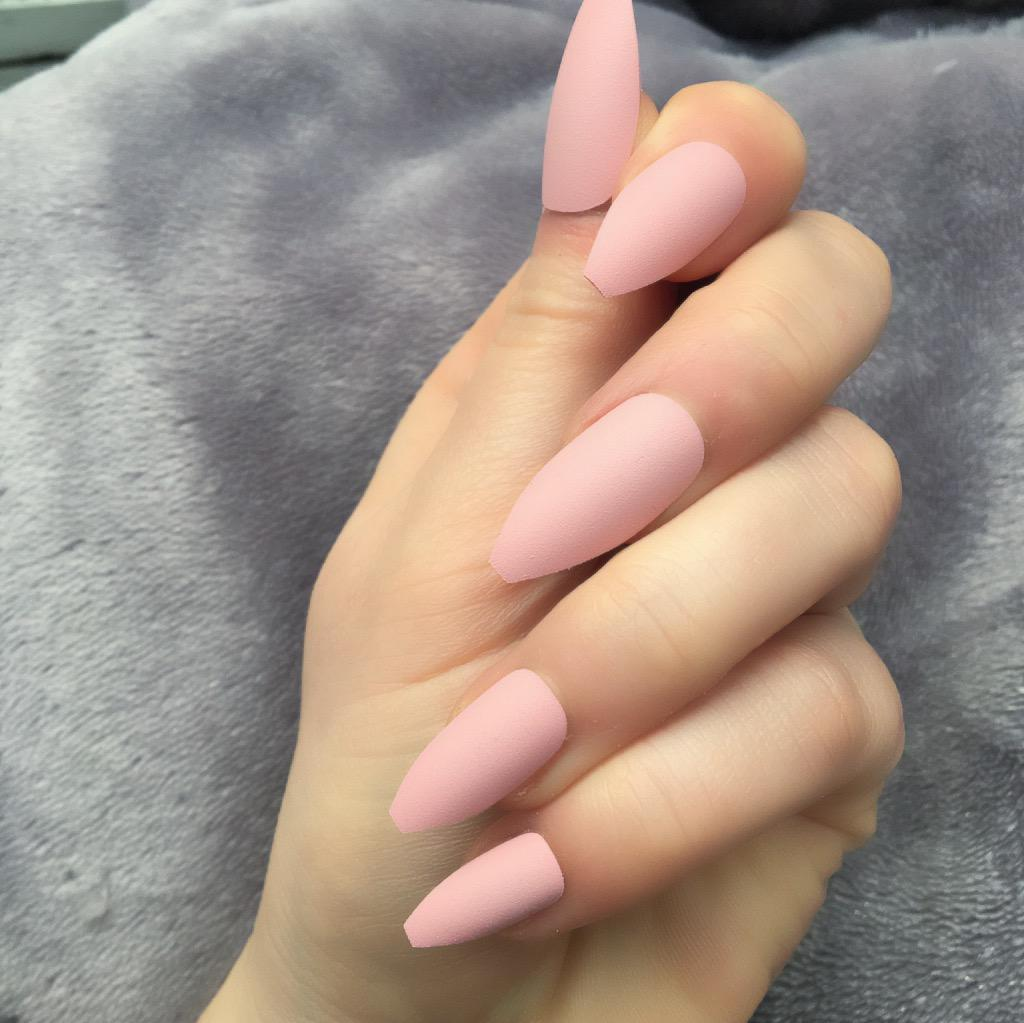 baby pink matte long coffin � doobys nails