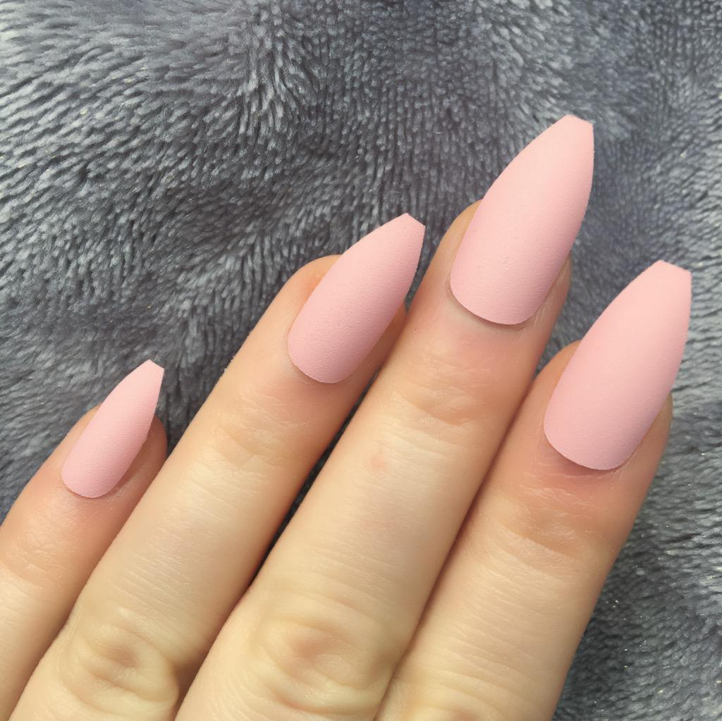 Baby Pink Matte Long Coffin – Doobys Nails