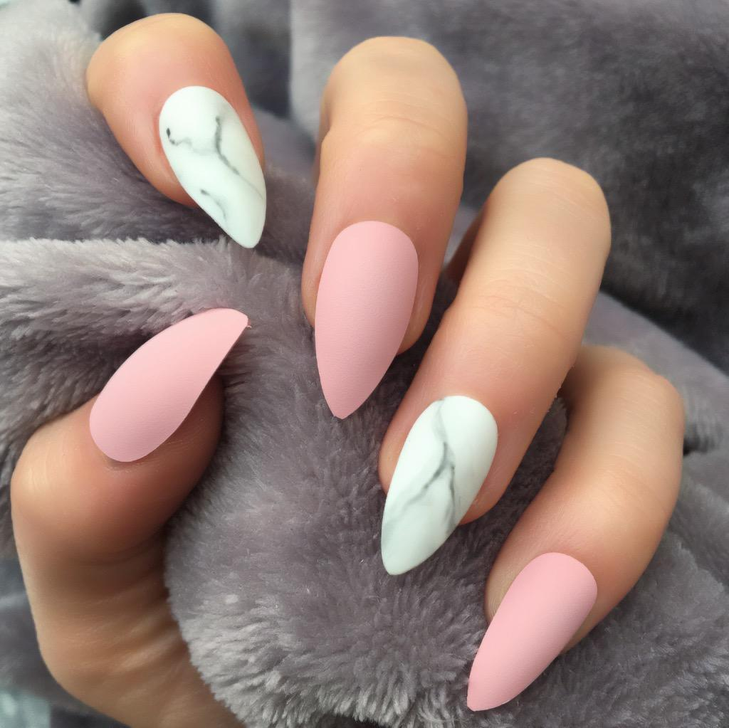 Baby Pink Matte Marble Stiletto – Doobys Nails