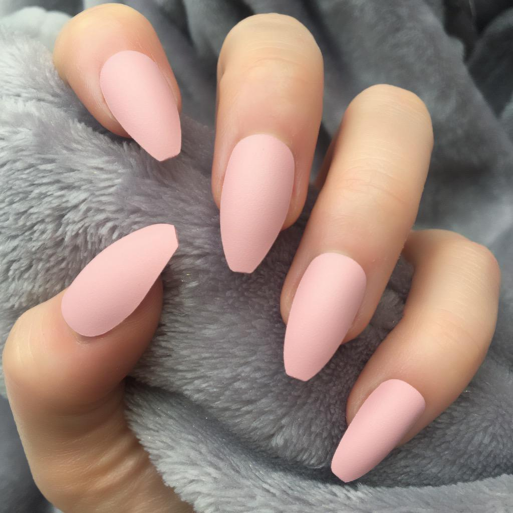 Baby Pink Matte Coffin Doobys Nails