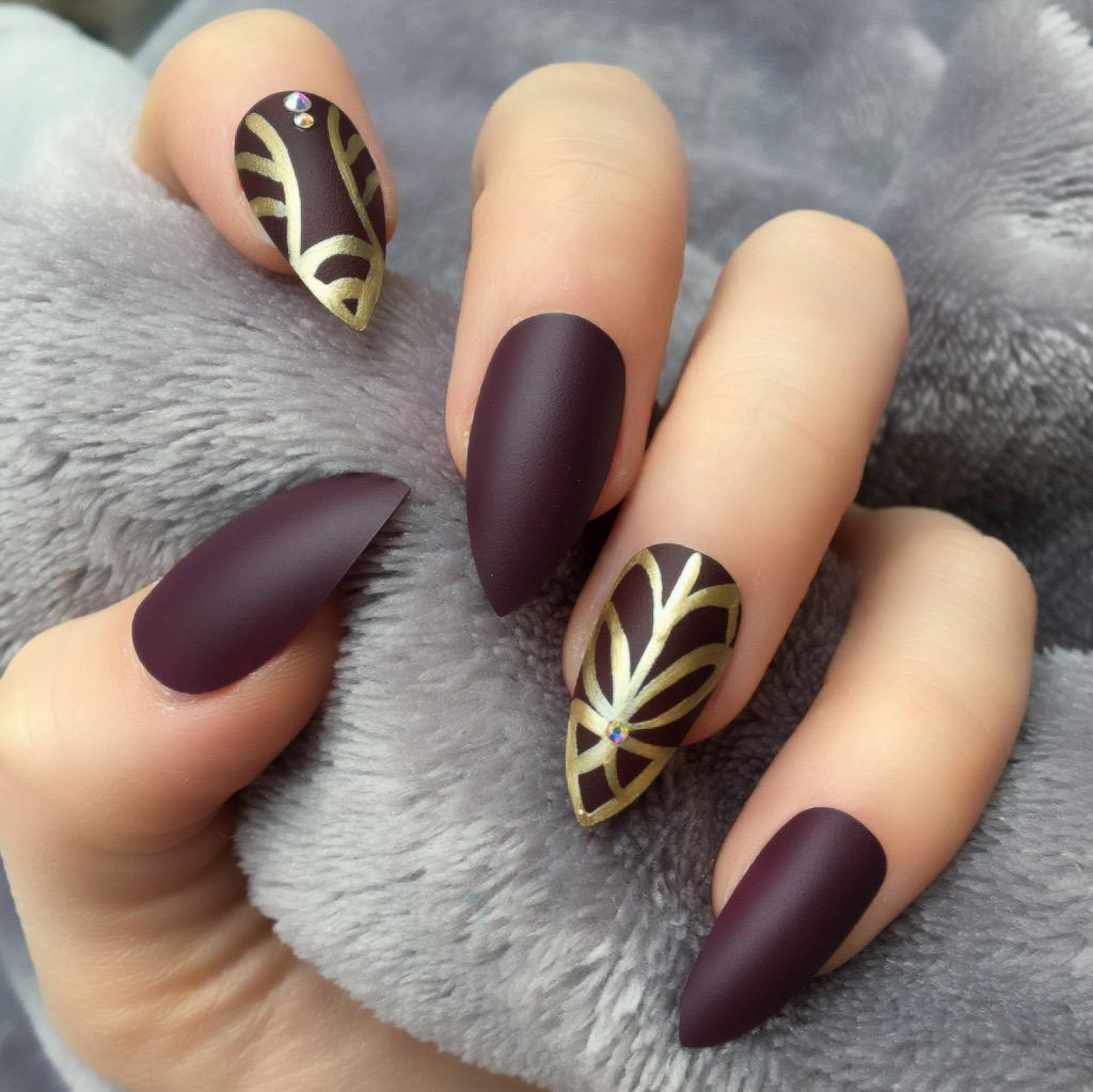 Maroon Matte Lisa Stiletto – Doobys Nails