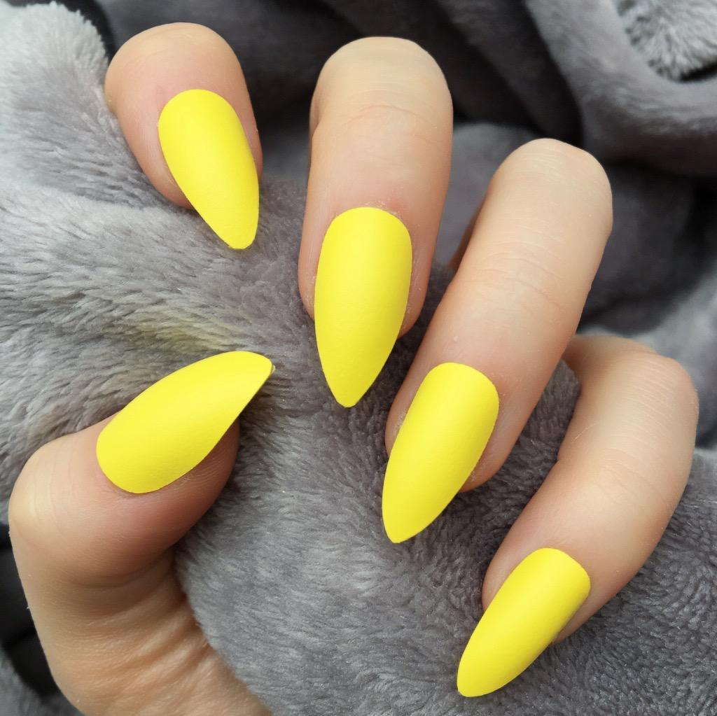 Yellow Matte Doobys Nails