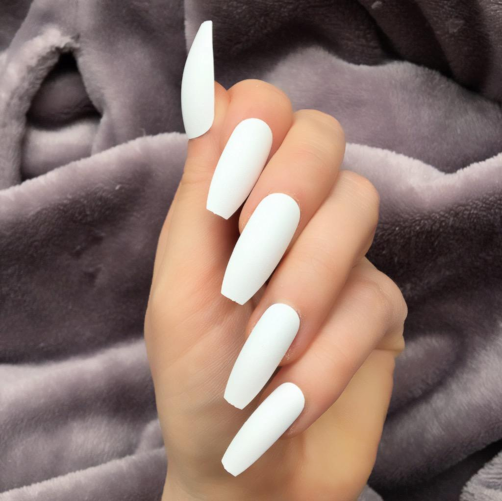 White Matte Ballerina – Doobys Nails