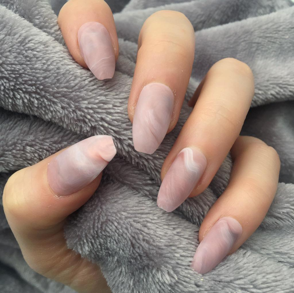 Rts Pink Marble Matte Coffin Doobys Nails