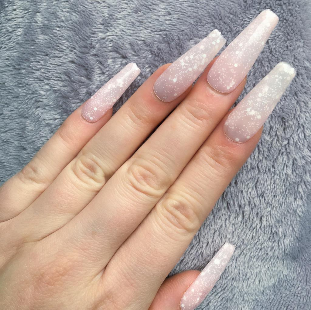 Milky White Ombre Coffin Nails - Nail and Manicure Trends