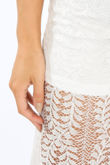 White Lace Sheer Panel Trousers
