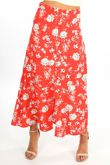 Red Floral Printed Button Front Maxi Skirt