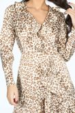 Taupe Long Sleeve Leopard Print Wrap Dress