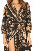 Black Baroque Maxi Dress With Split