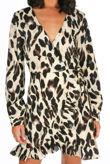 Beige Leopard Print Frill Wrap Dress