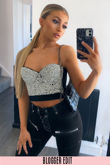 Black Diamonte Bustier Crop Top