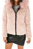 Black Reversible Puffer Faux Fur Jacket