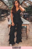Polka Dot Chiffon Frill Jumpsuit In Black