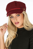 Button Detail Military Baker Boy Hat In Burgundy