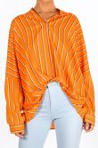 Striped Gathered Pleat Blouse In Orange