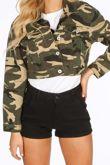 Cropped Camo Denim Jacket