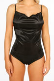 Black Cowl Neck Slinky Bodysuit
