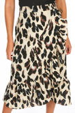 Cream Leopard Print Wrap Midi Skirt