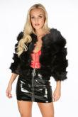 Cropped Super Soft Faux Fur Jacket In Black